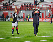 Dundee manager Paul Hartley and Julen Etxabeguren celebrate the win - Hamilton v Dundee in the Ladbrokes Scottish Premiership at Superseal stadium, Hamilton. Photo: David Young<br /> <br />  - &copy; David Young - www.davidyoungphoto.co.uk - email: davidyoungphoto@gmail.com