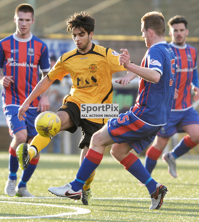 Robin Omar (Annan Athletic, amber &amp; black)  and Mark Nicolson (Elgin City, blue &amp; red) <br /> <br /> Annan Athletic v Elgin City, SPFL League 2, 30th January 2016<br /> <br /> (c) Alex Todd | SportPix.org.uk