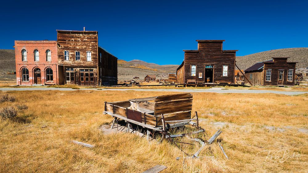 Buildings and sleigh on Main Street, Bodie State Historic Park, California USA