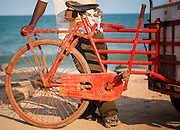 Red bicycle cart