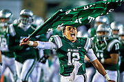 De La Salle quarterback Anthony Sweeney (12), comes on the to the field before the CIF State Division open championship football game played at Sacramento State, Saturday Dec 19, 2015.