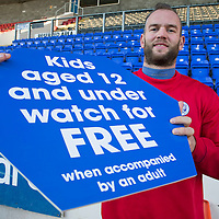 Alan Mannus promoting the kids under 12 free promotion at St Johnstone<br /> Picture by Graeme Hart.<br /> Copyright Perthshire Picture Agency<br /> Tel: 01738 623350  Mobile: 07990 594431