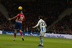 October 27, 2018 - Madrid, Madrid, Spain - Diego Costa (L) head the ball in front of Raul Navas (R)..during the match between Atletico de Madrid vs Real Sociedad. Atletico de Madrid won by 2 to 0 over Real Sociedad whit goals of Godin and Filipe Luis. (Credit Image: © Jorge Gonzalez/Pacific Press via ZUMA Wire)