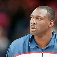 15 July 2012: Florent Pietrus of Team France warms up prior to a pre-Olympic exhibition game won 75-70 by Spain over France, at the Palais Omnisports de Paris Bercy, in Paris, France.