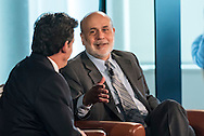 The WSJpro Breakfast Interview featuring Ben Bernanke, former Federal Reserve Chairman,  with Jon Hilsenrath, Editor of the Wall Street Journal, in New York City on October 7, 2015. (photo by Gabe Palacio)