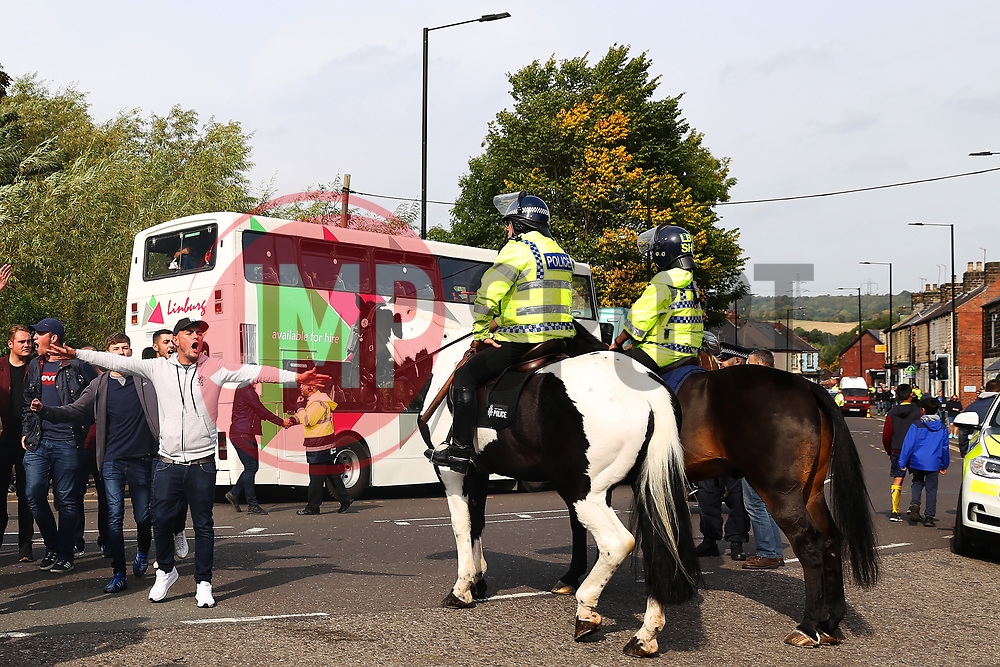 Police keep an eye on Sheffield United fans arriving at Hillsborough Stadium - Mandatory by-line:  Matt McNulty/JMP - 24/09/2017 - FOOTBALL - Hillsborough - Sheffield, England - Sheffield Wednesday v Sheffield United - Sky Bet Championship