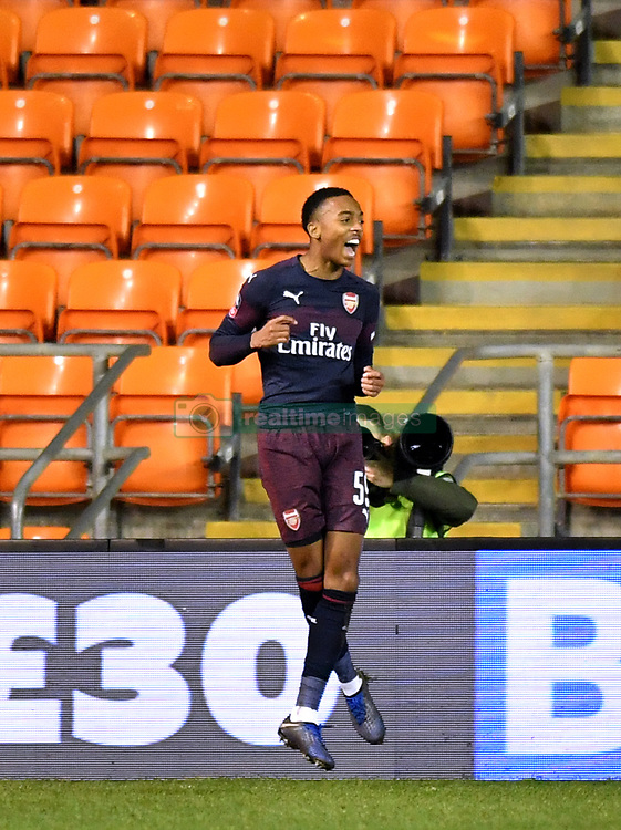 Arsenal's Joe Willock celebrates scoring his side's second goal of the game during the Emirates FA Cup, third round match at Bloomfield Road, Blackpool.