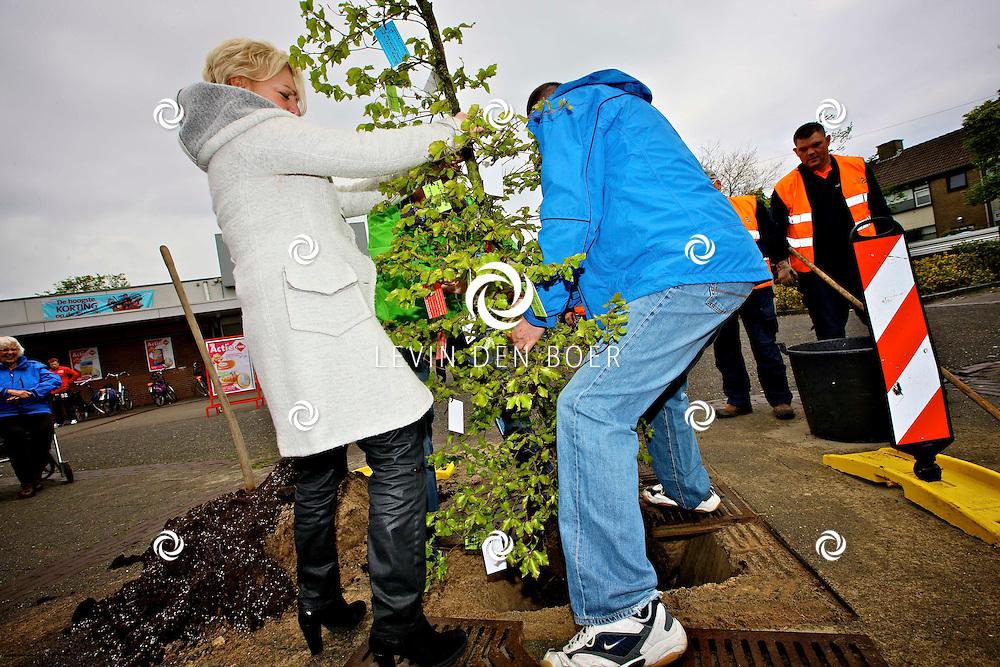 ZALTBOMMEL - In woonwijk de Vergt is een boom gepland door Kees Zondag, wethouder, Margret van Wijk, directeur Woonlinie en Jan Dirx, inwoner De Vergt. Dit om zo aandacht te geven aan de wijk. FOTO LEVIN DEN BOER - PERSFOTO.NU