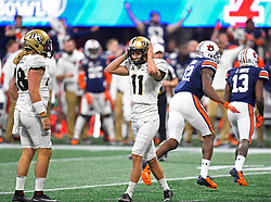 UCF Knights place kicker Matthew Wright (11) misses an attempted field goal during the second half of the Chick-fil-A Peach Bowl NCAA college football gameat the Mercedes-Benz Stadium in Atlanta, January 1, 2018. UCF won 34-27 to go undefeated for the season. (David Tulis via Abell Images for Chick-fil-A Peach Bowl)