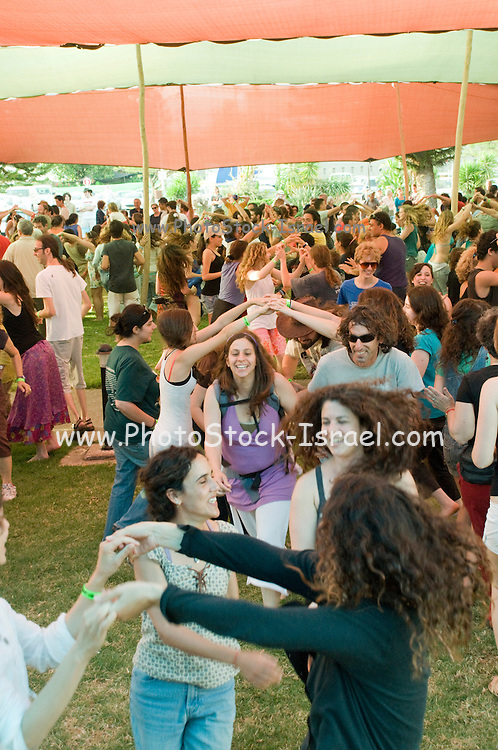 Israel, Nof Ginosar, Outdoor Square dancing