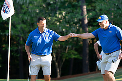 Former Pitt quarterback John Congemi fist bumps Pittsburgh head football coach Pat Narduzzi during the Chick-fil-A Peach Bowl Challenge at the Ritz Carlton Reynolds, Lake Oconee, on Tuesday, April 30, 2019, in Greensboro, GA. (Paul Abell via Abell Images for Chick-fil-A Peach Bowl Challenge)