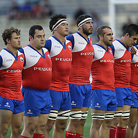 Members of the Chile rugby team are seen during the 2016 Americas Rugby Championship match at Lockhart Stadium on Saturday, February 20, 2016 in Fort Lauderdale, Florida.  (Alex Menendez via AP)