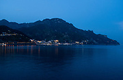 Blue hour as evening settles in along the Amalfi Coast of Italy