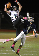 NEWTOWN, PA - OCTOBER 10: William Tennent's John Ryan #81 catches a pass as Council Rock South's Tyler Anderson #1 defends in the second quarter at Council Rock North's Walt Snyder Stadium October 10, 2014 in Newtown, Pennsylvania. (Photo by William Thomas Cain/Cain Images)