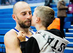 Nebojsa Joksimovic of Cibona with his son after winning during basketball match between KK Cibona Zagreb (CRO) and KK Mornar (MNE) in Round #4 of FIBA Champions League 2016/17, on November 9, 2016 in Drazen Petrovic Basketball center, Zagreb, Croatia. Photo by Vid Ponikvar / Sportida