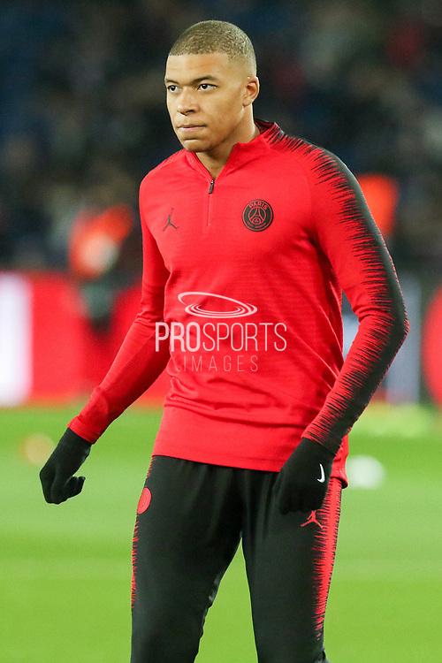 Kylian Mbappe of Paris Saint-Germain warm up during the Champions League Round of 16 2nd leg match between Paris Saint-Germain and Manchester United at Parc des Princes, Paris, France on 6 March 2019.