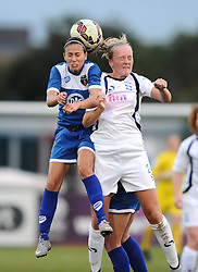 Evdokia Popadinova of Bristol Academy battles for the high ball with Chloe Peplow of Birmingham City Ladies  - Mandatory byline: Dougie Allward/JMP - 07966386802 - 29/08/2015 - FOOTBALL - Stoke Gifford Stadium -Bristol,England - Bristol Academy Women FC v Birmingham City Ladies - FA WSL Continental Tyres Cup