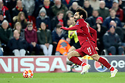 Liverpool forward Mohamed Salah (11) in full flow during the Champions League Quarter-Final Leg 1 of 2 match between Liverpool and FC Porto at Anfield, Liverpool, England on 9 April 2019.