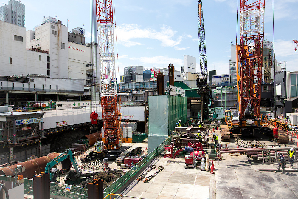 TOKYO, JAPAN - JUNE 3 : Construction in Shibuya, Tokyo, Japan, Photo taken on July 3, 2016.<br /> Photo: Richard Atrero de Guzman