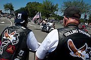 "May 30, 2010 - Washington, District of Columbia, U.S., - Rolling Thunder makes its annual Memorial Day ""Ride To The Wall"" with hundreds of thousands of members on motorcyles converging on the Vietnam Veterans Memorial. Rolling Thunder Inc. is a non-profit organization which is dedicated to the search of American soldiers who are prisoners of war or missing in action. Rolling Thunder was established in 1987. (Credit Image: © Pete Marovich/ZUMA Press)"