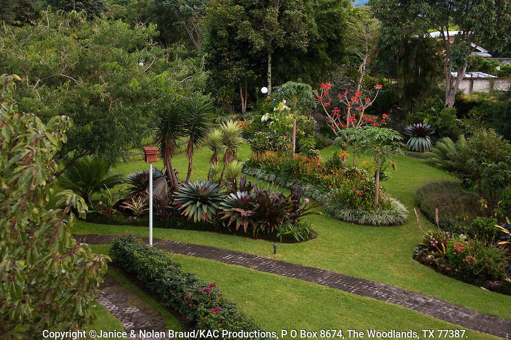 Tropical garden scene at the Bougainvillea Hotel in San Jose, Costa Rica.