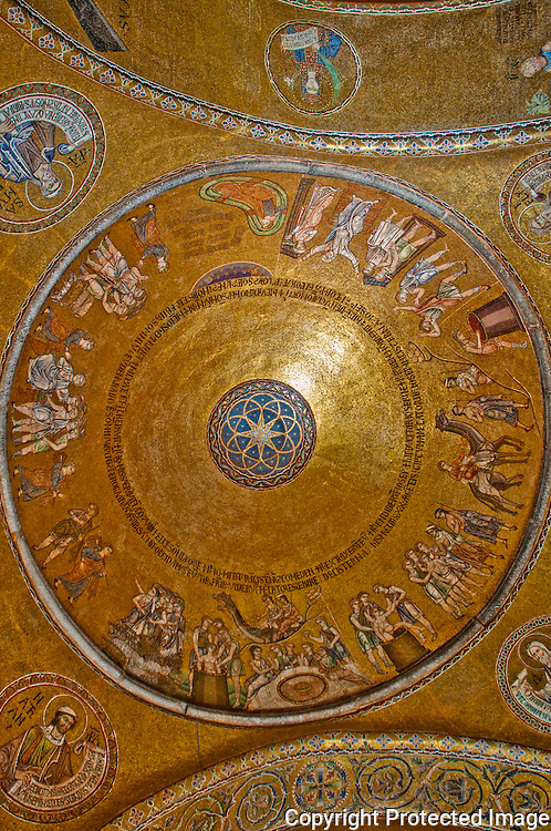 Detail of the fabulous Golden tile mosaic ceiling inside St. Mark's Basilica in Venice, Italy.