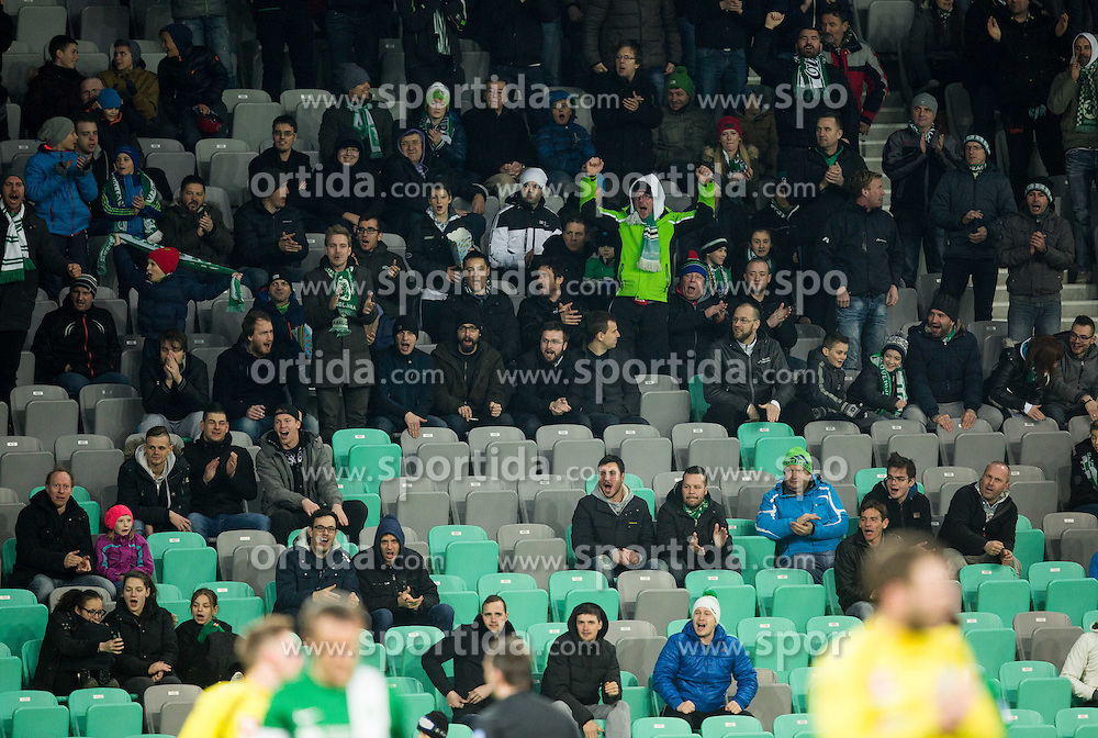 Supporters of Olimpija during football match between NK Olimpija Ljubljana and NK Celje in Round #25 of Prva liga Telekom Slovenije 2015/16, on March 13, 2016 in SRC Stozice, Ljubljana, Slovenia. Photo by Vid Ponikvar / Sportida