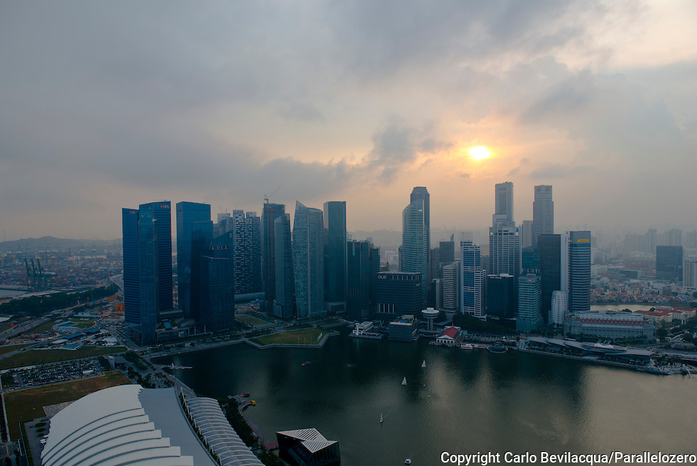 Singapore - View from the roof of the Marina Bay Sands Hotel.