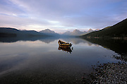 panoramic view of empty boat on lake McDonald at Glacier National Park USA