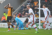 Hull City striker Abel Hernandez (9) dispares at his missed shot at goal  during the Sky Bet Championship match between Hull City and Milton Keynes Dons at the KC Stadium, Kingston upon Hull, England on 12 March 2016. Photo by Ian Lyall.
