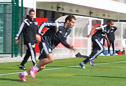 NEWPORT, WALES - Wednesday, October 8, 2014: Wales' Gareth Bale training at Dragon Park National Football Development Centre ahead of the UEFA Euro 2016 qualifying match against Bosnia and Herzegovina. (Pic by David Rawcliffe/Propaganda)
