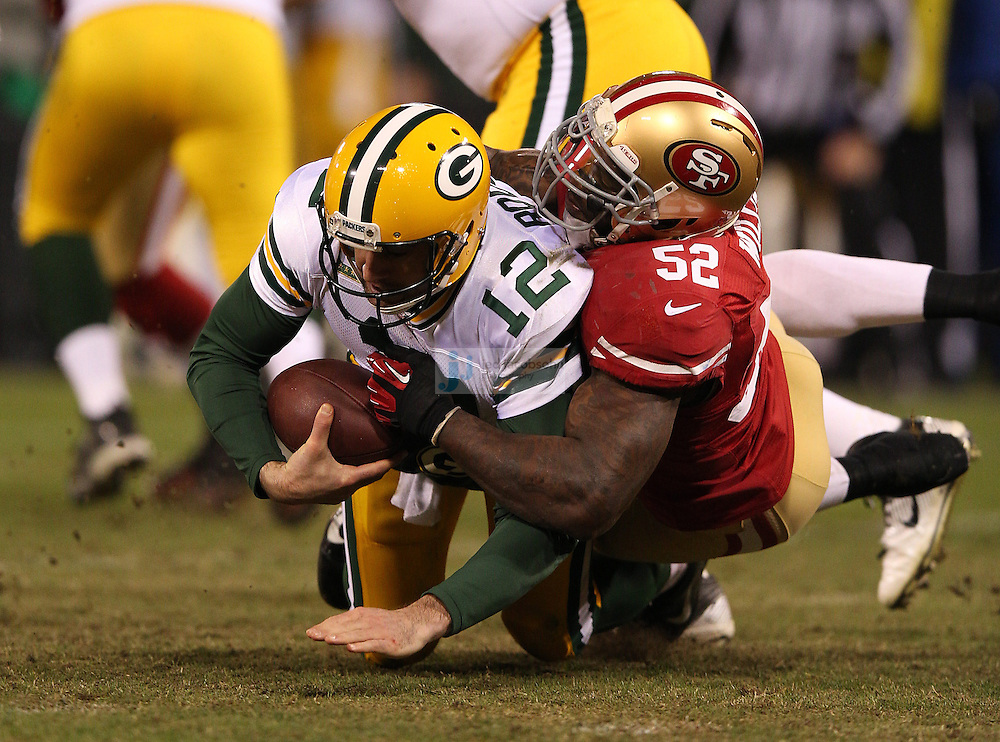 San Francisco 49ers inside linebacker Patrick Willis (52) sacks Green Bay Packers quarterback Aaron Rodgers (12) during a NFL Divisional playoff game at Candlestick Park in San Francisco, Calif., on Jan. 12, 2013. The 49ers defeated the Packers 45-31. (AP Photo/Jed Jacobsohn)
