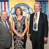 Mayor of Ennis, Cllr. John Crowe, Ennis Toastmasters President Halimah McNamara and Cllr. James Breen, deputy Mayor of Ennis at the Toastmasters Ennis 40th Anniversary celebration dinner