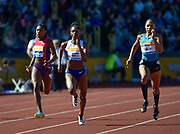 GB's Dina Asher-Smith (centre) competes right to the line with Allyson Felix in the 200m race during the Sainsbury's Birmingham Grand Prix IAAF Diamond League Meeting at Alexandra Stadium, Birmingham, West Midlands, England on June  07  2015. (Steve Flynn/IOS via AP)