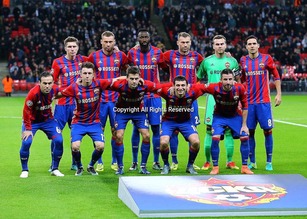 07.12.2016. Wembley Stadium, London, England. UEFA Champions League Football. Tottenham Hotspur versus CSKA Moscow. CSKA Moscow gather for a team photo before kick off