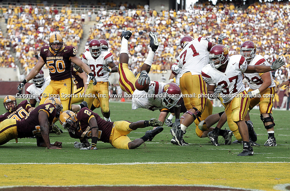 1 October 2005:  USC Trojans Reggie Bush, #5 RB, dives for the end zone and lands on his head on the ASU 1 during the fourth quarter of the game against the Arizona State Sun Devils at Sun Devil Stadium in Tempe, AZ.  USC won 38-28