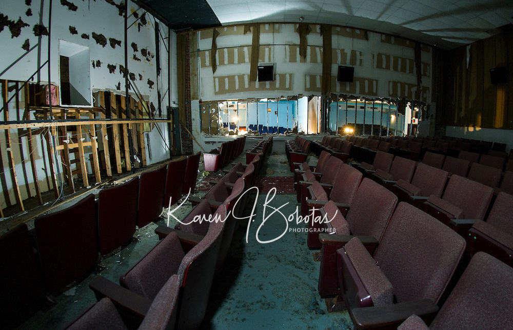 Renovation work done by Bonnette, Page and Stone at the Colonial Theater in downtown Laconia.  Back theater area/stage looking through to first level theater spaces.   ©2016 Karen Bobotas Photographer