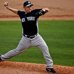 Feb 26, 2013; Clearwater, FL, USA; New York Yankees relief pitcher Jim Miller (43) throws against the Philadelphia Phillies during the bottom of the sixth inning of a spring training game at Bright House Field. Mandatory Credit: Derick E. Hingle-USA TODAY Sports
