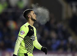 The breath of Nahki Wells of Huddersfield Town can be seen in the cold at Reading during the FA Cup Third Round Replay - Mandatory byline: Robbie Stephenson/JMP - 19/01/2016 - FOOTBALL - Madejski Stadium - Reading, England - Reading v Huddersfield - FA Cup Third Round