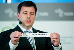 Ales Zavrl of NZS with paper NK Farmtech Verzej during NZS Draw for season 2015/16 on June 23, 2015 in Brdo pri Kranju, Slovenia. Photo by Vid Ponikvar / Sportida