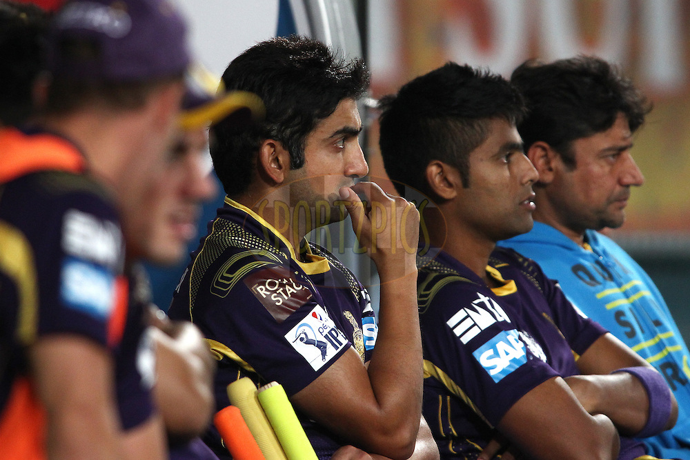 A concerned Gautam Gambhir captain of the Kolkata Knight Riders during match 21 of the Pepsi Indian Premier League Season 2014 between the Chennai Superkings and the Kolkata Knight Riders  held at the JSCA International Cricket Stadium, Ranch, India on the 2nd May  2014<br /> <br /> Photo by Shaun Roy / IPL / SPORTZPICS<br /> <br /> <br /> <br /> Image use subject to terms and conditions which can be found here:  http://sportzpics.photoshelter.com/gallery/Pepsi-IPL-Image-terms-and-conditions/G00004VW1IVJ.gB0/C0000TScjhBM6ikg