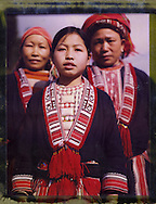 Polaroid 79's portrait of 3 tribal females wearing traditional clothes.