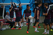 Raheem Sterling warms up during the England open training session at Arena da Amazonia, Manaus, Brazil. <br /> Picture by Andrew Tobin/Focus Images Ltd +44 7710 761829<br /> 13/06/2014