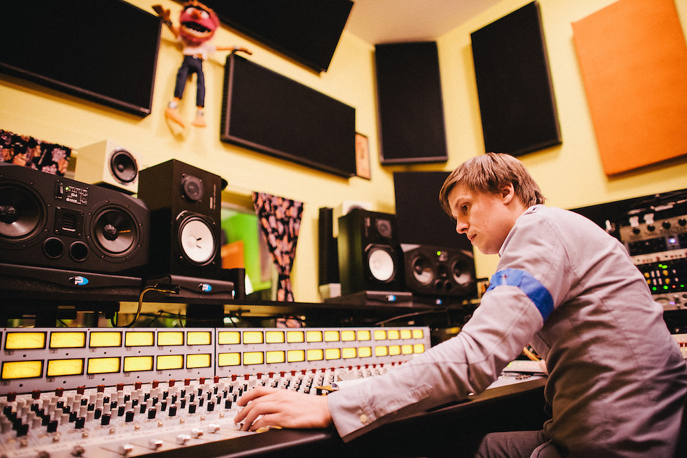 """Chris Walla records The Thermals album """"Personal Life"""" at Jackpot! Recording studio in Portland, OR."""