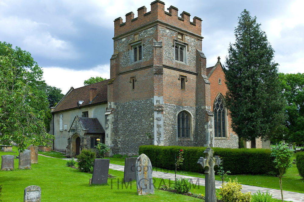 The Church of St Mary the Virgin and graveyard in Harefield, Middlesex, UK