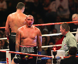 Sept 26, 2009; Los Angeles, CA, USA; Vitali Klitschko and Cris Arreola trade punches during their 12 round bout at the Staples Center.  Mandatory Credit: Bryan Crowe/FightWireImages.com