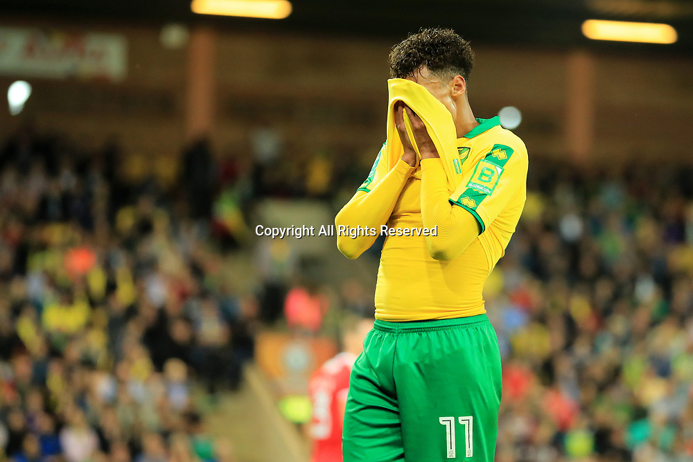 August 8th 2017, Carrow Road, Norwich, England; Carabao Cup First Round; Norwich City versus Swindon Town; Josh Murphy of Norwich City covers his face as he misses another chance on goal