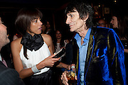 ANA ARAUJO; RONNIE WOOD,  DSquared2 Launch of their Classic collection. Tramp. Jermyn St. London. 29 June 2011. <br /> <br />  , -DO NOT ARCHIVE-© Copyright Photograph by Dafydd Jones. 248 Clapham Rd. London SW9 0PZ. Tel 0207 820 0771. www.dafjones.com.