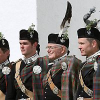 Atholl Highlanders Parade, Blair Castle, Perthshire..26.05.07<br /> John Murray 11th Duke of Atholl (second from right) with his family from left, Bruce Murray Marquess of Tullibardine, Michael Murray Earl of Strathtay & Strathardle and Lord Craig Murray (far right)<br /> Picture by Graeme Hart.<br /> Copyright Perthshire Picture Agency<br /> Tel: 01738 623350  Mobile: 07990 594431