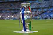 The Euro 2016 trophy on display during the Euro 2016 final between Portugal and France at Stade de France, Saint-Denis, Paris, France on 10 July 2016. Photo by Phil Duncan.